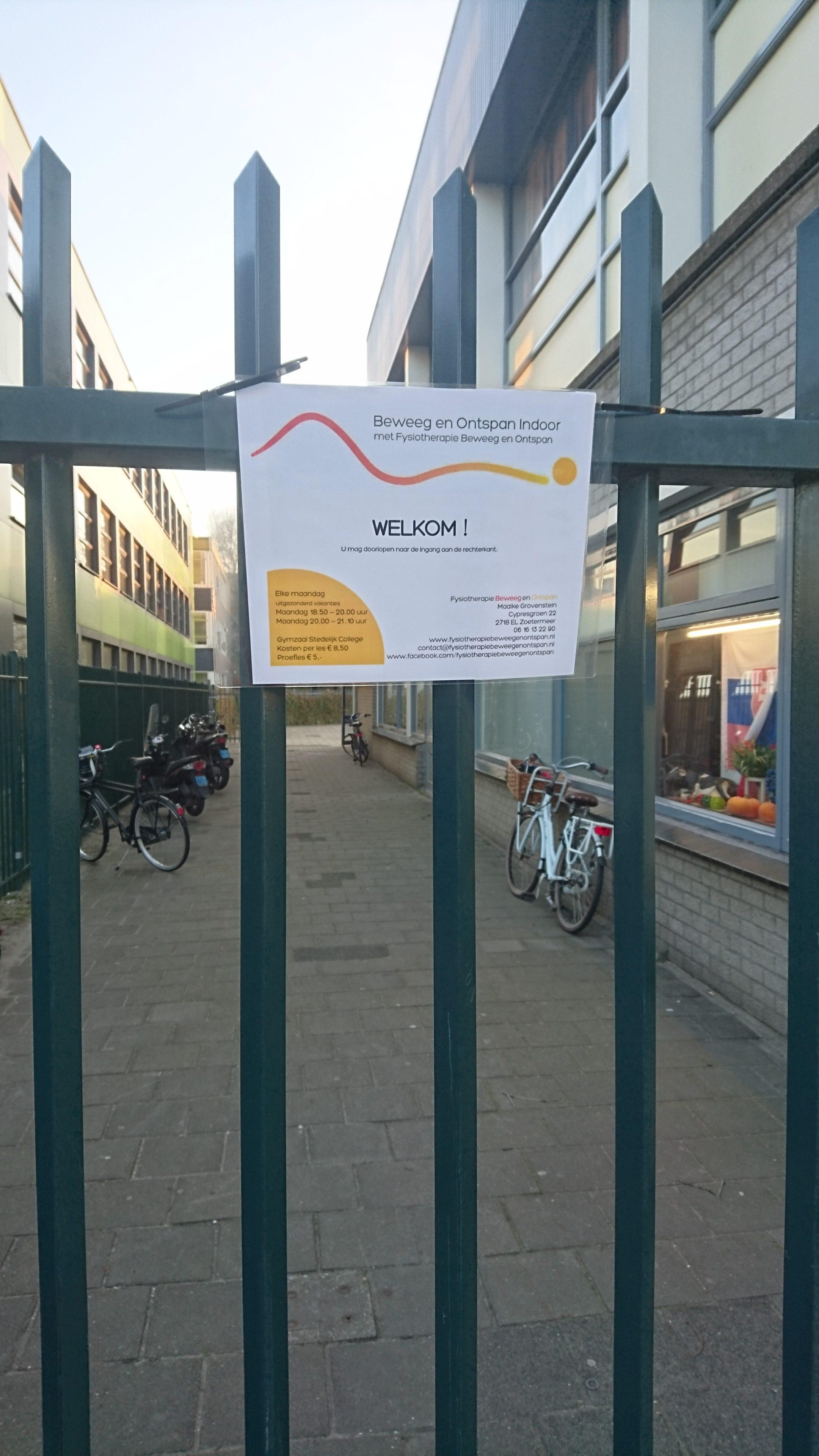 Welkom Beweeg en Ontspan Indoor bij Stedelijk College
