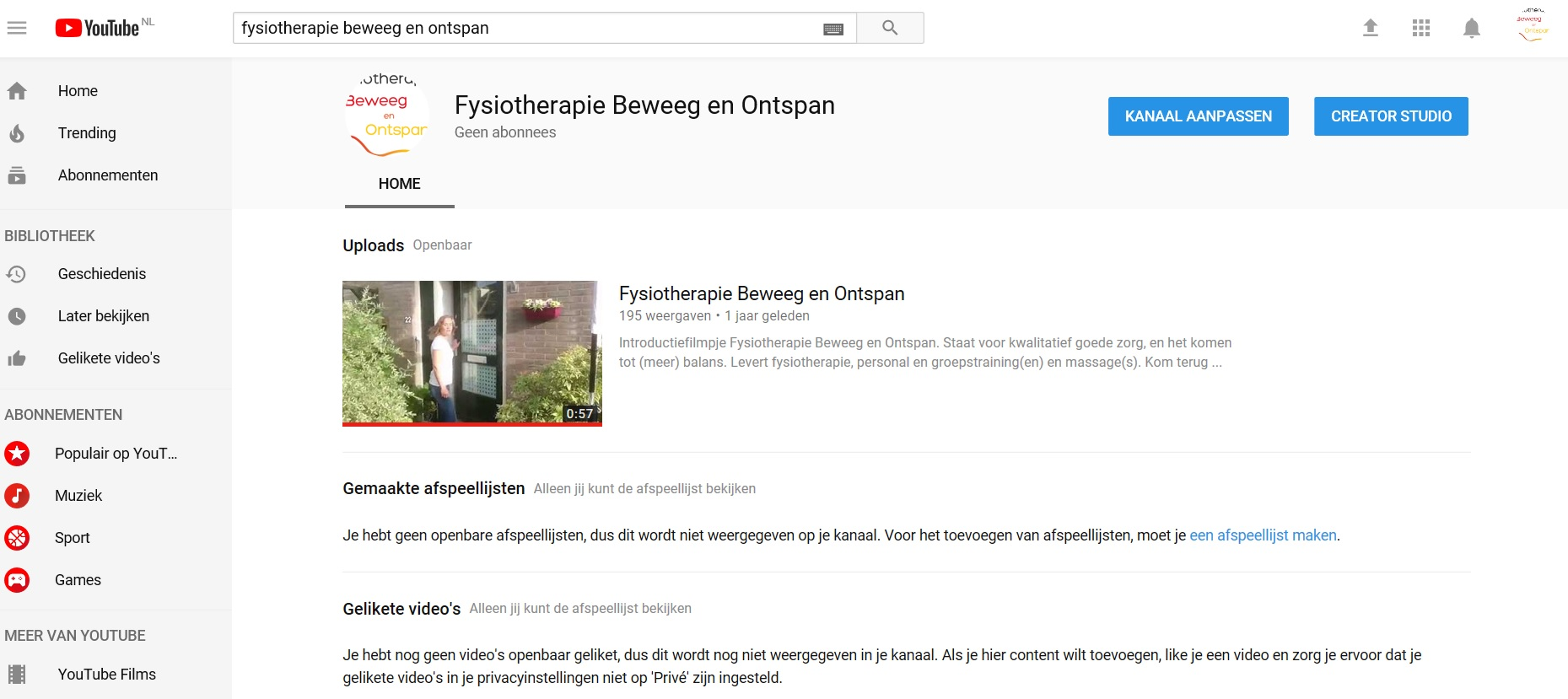 Filmpje YouTube fysiotherapie