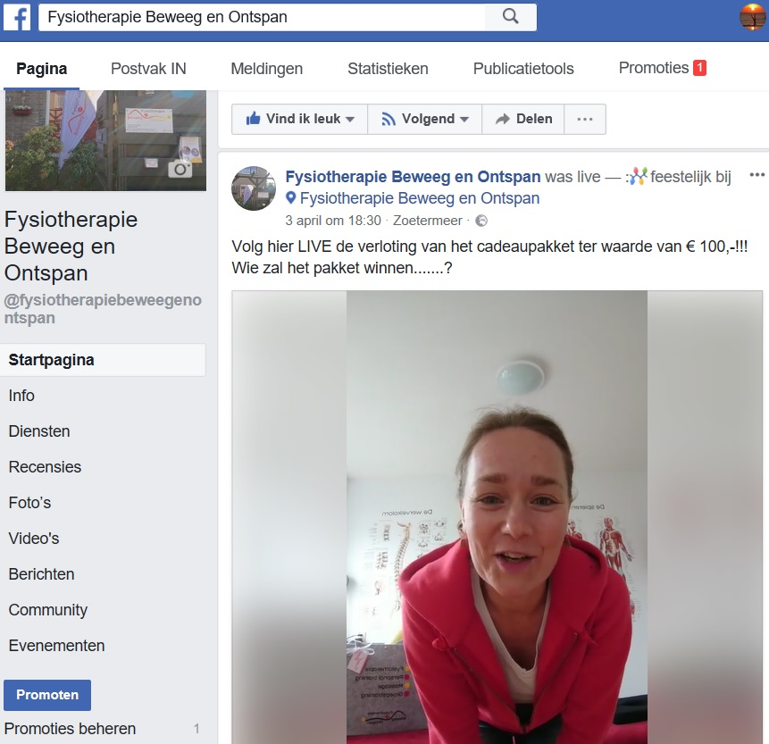 Facebook verloting cadeaupakket