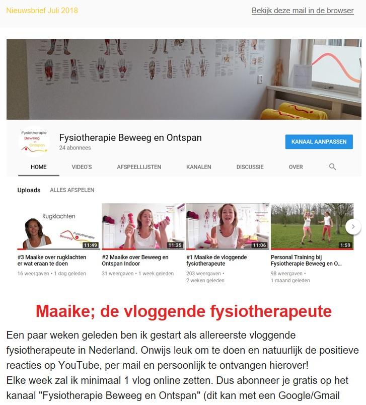Nieuwsbrief juli 2018 fysiotherapie